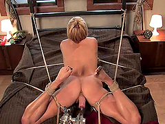 Lusty blond is getting high on a..