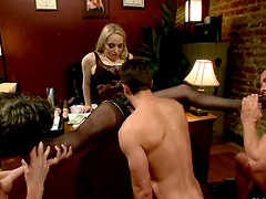 Office Femdom Making Three Guys Go..