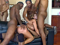 Horny Ava Devine gets gangbanged by..