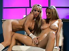 Sexy Lingerie Wearing Blonde Lesbians Have A Nice Time With Sex Toys