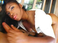 Ebony Babe Gets an Ivory Cock
