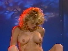 Retro video with curly blonde riding..