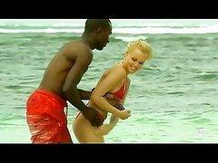 Interracial Couple Having Fun Outdoors..