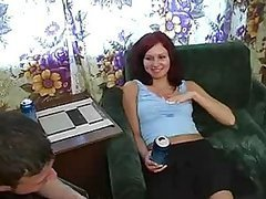 Drunk Russian Redhead Sucks and Fucks..