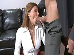 Cumaholic Redhead Office Slut Rides Her Boss' Cock and Gets Facialized
