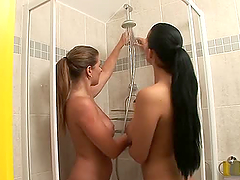 Two Hot Lesbian Babes Showering Together.