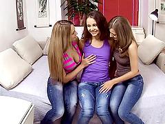 Three horny lesbians drill their..