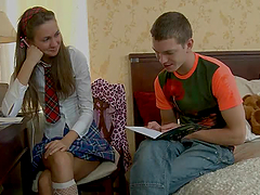 Horny Schoolgirl Sofia loves sucking a..