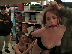 Girl is gagged and group fucked