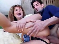 Lascivious Granny Gets Fucked and Receives an Anal Creampie Outdoors