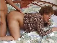 Lustful Brunette Granny Gets Pounded..