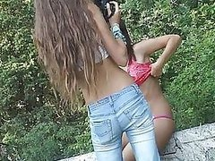 Russian Teens Fooling Around Outdoors