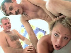 Dirty Teen Slut Fucks Two Old Men