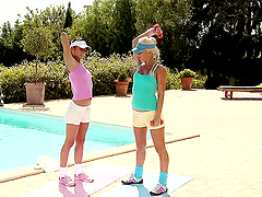 Sporty sirens seduced each other on..