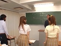 Three Sweet Japanese School Girls Suck On One Throbbing Cock And Eat Cum