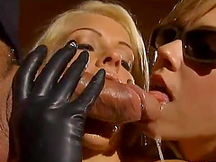 Two lewd blondes suck a cock before taking it in their butts