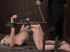 Ashley Jane immobilized in doggy..