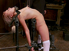 Hot blonde gets nipple torture and her pussy toyed in bondage session