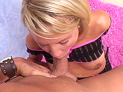 Sexy blonde gives a guy one hell of a..