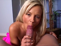 POV blowjob from the naughty blonde..