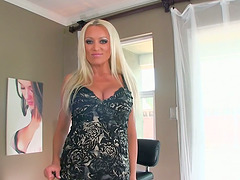 Sexy blond Milf Diana Doll milks a..