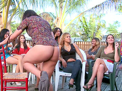 CFNM Outdoors Party with Girls Seeing..