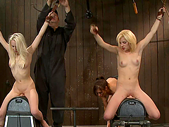 Blond sex slaves doing 69 in cage end..