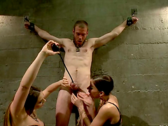 Big Cock Guy Dominated in Femdom and Pegging Session by Three Girls