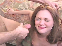 Slutty red gets nailed & sprayed with..