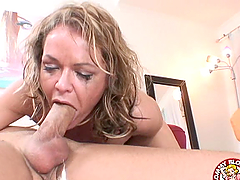 A brutal deep throat from the slutty..