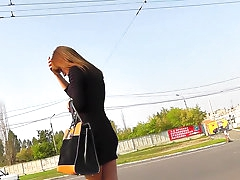 Brunette's panties upskirt get captured outdoors
