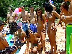 Hot Pool Party Ends Up In An Outdoors..