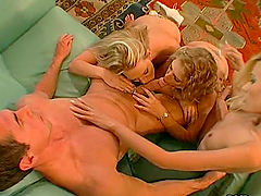 Peter North fucks three blonde babes..