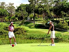 Golfer Girls Licking Each Other.