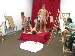 Art Class Becomes Blowjob CFNM Party..