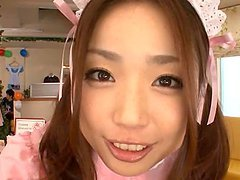 Asian Teen In Maid Costume Sucking A..