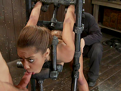 Exotic chick in bondage device getting..