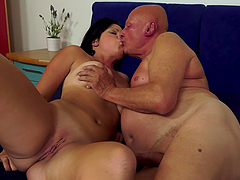 Old Man Smells Brunette Babe's Panties..