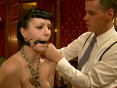 Chained and gagged brunette at lesbian..