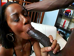 Ebony in stockings gets fucked by big..