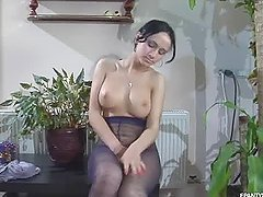 Busty Brunette Masturbates in Sexy..