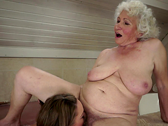 Kinky Teen and Horny Grandma Licking..