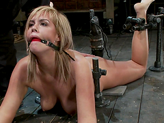 Tied up gagged & spanked in bondage..