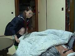 Kinky Japanese girl in school uniform..
