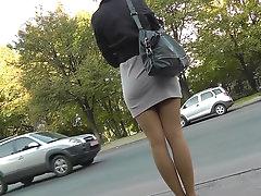 Voyeur upskirting in public