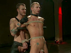 Two guys gets dominated and ass fucked by their master