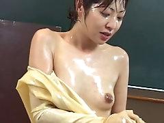 Japanese in latex enjoys fetish