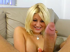 Busty blonde plays with a monster cock..