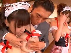 A few slutty Japanese maids get..