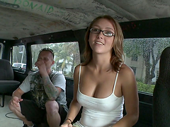 Rough sex in the bang bus with a hor redhead